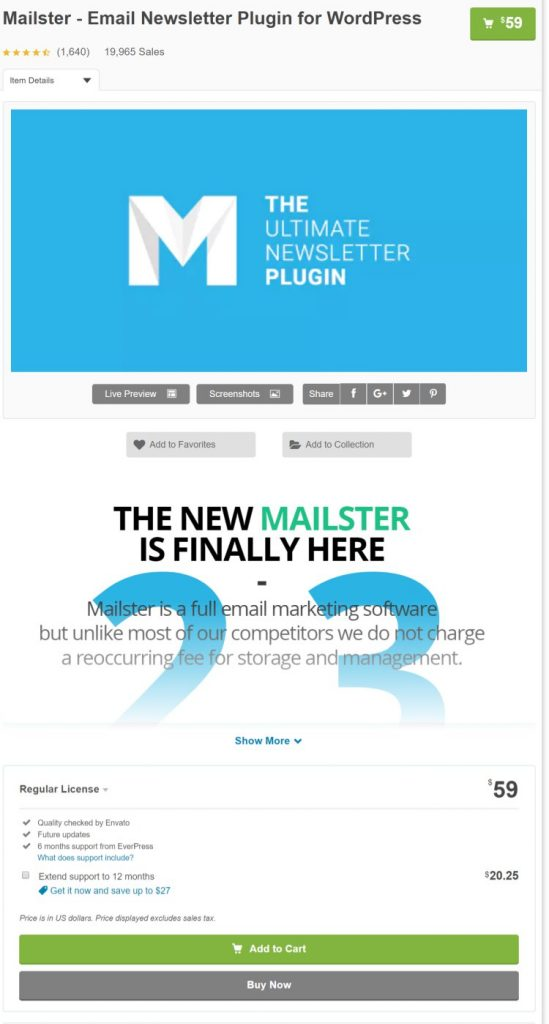 워드프레스 이메일 마케팅 플러그인 Mailster 가격