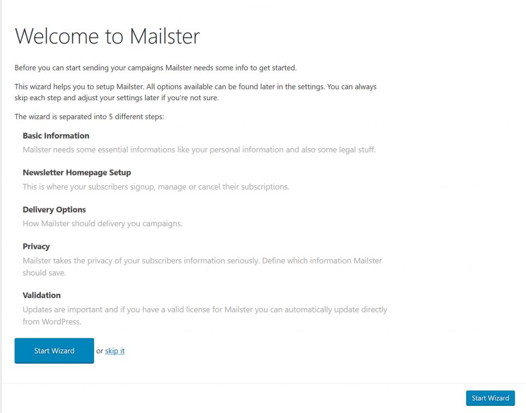 이메일 플러그인 mailster 설치_환영 및 설치 단계 안