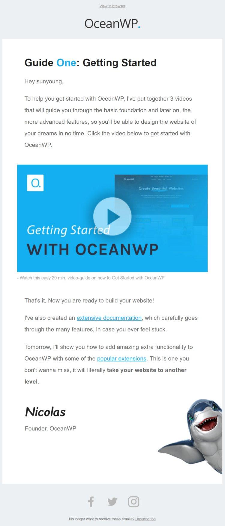 oceanWP 웰컴 시리즈 메일 첫번째