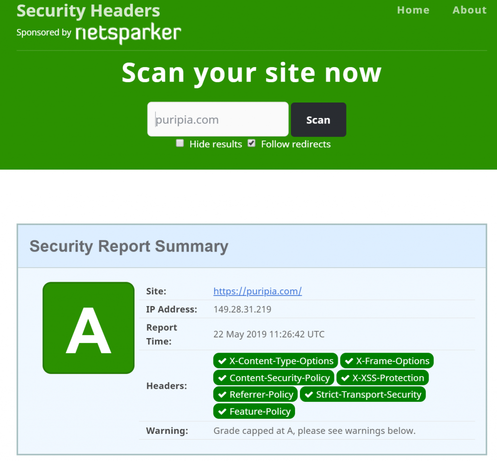 HTTP 보안 헤더(HTTP Security Header) 적용 여부 점검 결과 by Security Headers Sponsored by netsparker